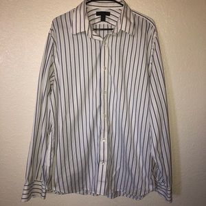 Express White and Blue Striped Button Down Shirt